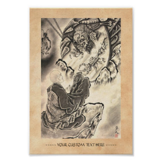 Cool classic vintage japanese demon monk tattoo poster