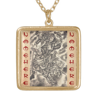 Cool classic vintage japanese demon samurai fight gold plated necklace