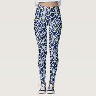 Cool Coastal Blue Waves Your Color Choice Pattern Leggings