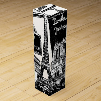 Cool Collage of Photo Illustrations of Paris Wine Gift Box