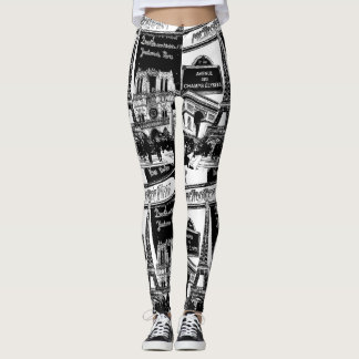 Cool Collage Photo Illustrations Paris Sights Leggings