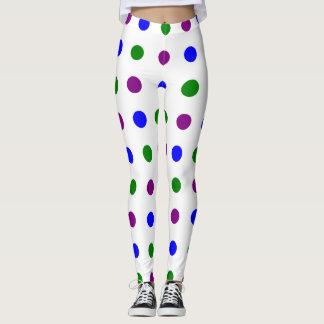 Cool Color Polka Dot Leggings (White)