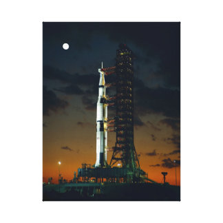 Cool Colorful Apollo Moon Mission at Launchpad Canvas Print