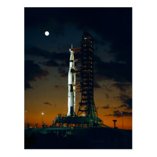 Cool Colorful Apollo Moon Mission at Launchpad Postcard