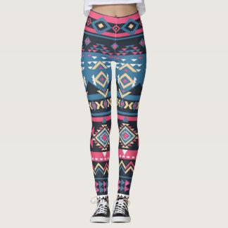 Cool Colorful Aztec Geometric Tribal Pattern Leggings