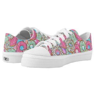 cool colorful donut pattern low tops