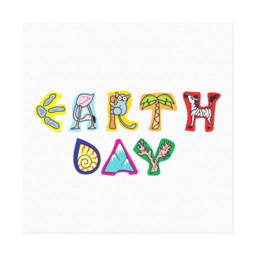 Cool Colorful Earth Day Wrapped Canvas Canvas Prints