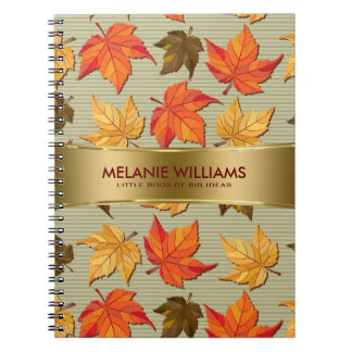 Cool Colorful Fall Leafs Spiral Note Book