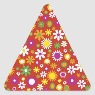 Cool Colorful floral pattern red background Triangle Sticker