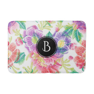 Cool Colorful Flowers Pattern Monogram Bath Mat