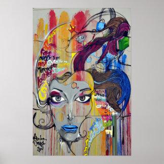 Cool colorful graffiti of women poster
