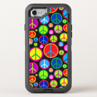 Cool Colorful Groovy Peace Symbols OtterBox Defender iPhone 8/7 Case