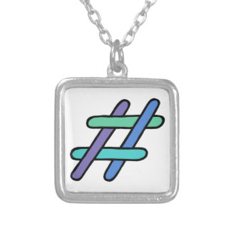 Cool Colorful # Hashtag Blue Green Purple Hashtag Square Pendant Necklace