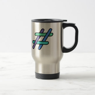 Cool Colorful # Hashtag Blue Green Purple Hashtag Stainless Steel Travel Mug