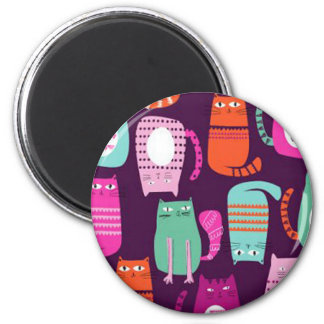 Cool Colorful Kitty Cat 2 Inch Square Magnet