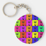 Cool Colorful Kitty Cat Pop Art Key Chains