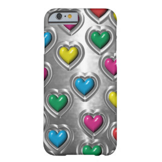 Cool Colorful Metal Look Hearts iPhone 6 case Barely There iPhone 6 Case