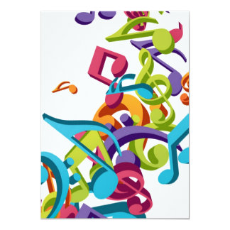 "Cool Colorful  music notes & sounds 5"" X 7"" Invitation Card"
