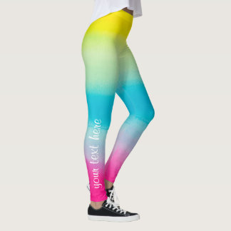 Cool Colorful Ombre Watercolor Your Custom Text Leggings