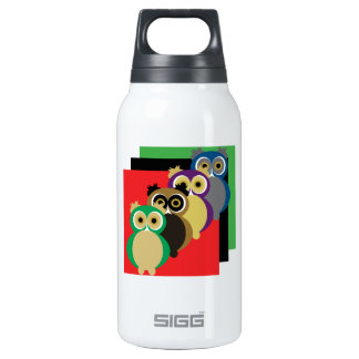 Cool Colorful Owls Insulated Water Bottle