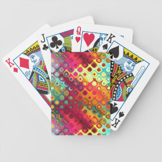 Cool Colorful red, Rainbow of Liquid Dots pattern. Bicycle Playing Cards