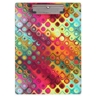 Cool Colorful red, Rainbow of Liquid Dots pattern. Clipboard