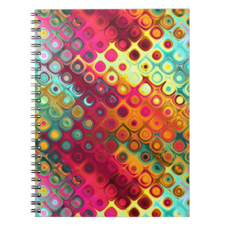 Cool Colorful red, Rainbow of Liquid Dots pattern Notebooks