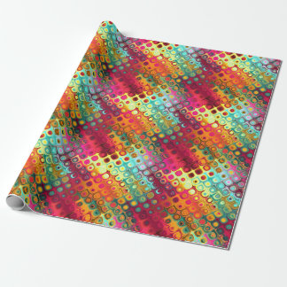 Cool Colorful red, Rainbow of Liquid Dots pattern. Wrapping Paper