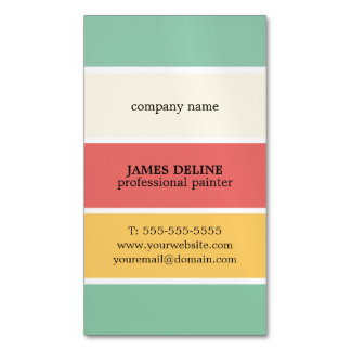 Cool Colorful Striped Professional Painter Magnetic Business Cards