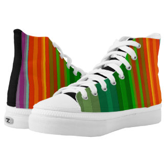 Cool Colorful Stripes Bold Vertical Bright Rainbow High Tops