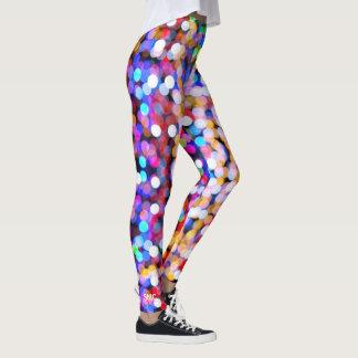 Cool Colorful Trendy Bold Confetti Bokeh Monogram Leggings