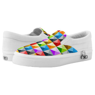 Cool Colorful triangles geometric pattern Printed Shoes