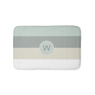 Cool Colors Minimalist Stripes with Monogram Bath Mat