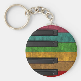 Cool colourful antique grunge effect piano basic round button key ring