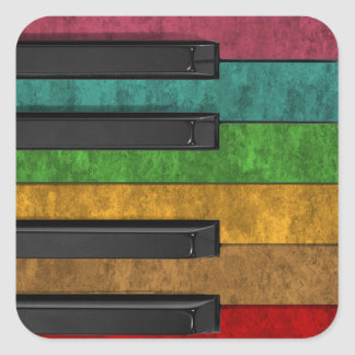 Cool colourful antique grunge effect piano square sticker