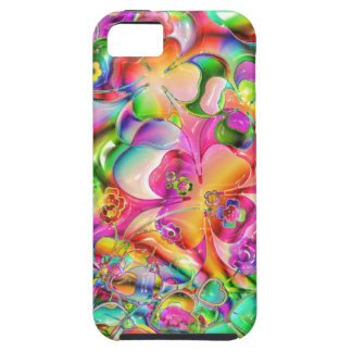 cool colourful bright flowers hearts background case for the iPhone 5