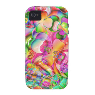 cool colourful bright flowers hearts background iPhone 4 case
