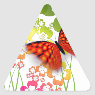 cool colourful butterfly and  clovers triangle sticker
