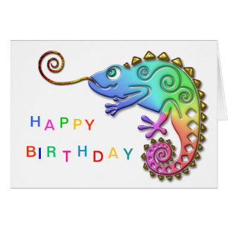 Cool Colourful Chameleon Birthday Greeting Card