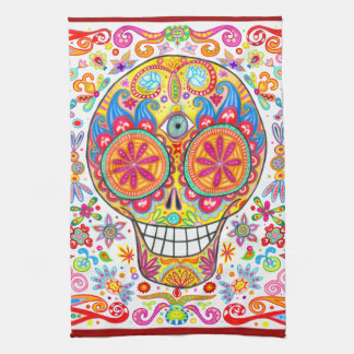 Cool Colourful Day of the Dead Art Kitchen Towel
