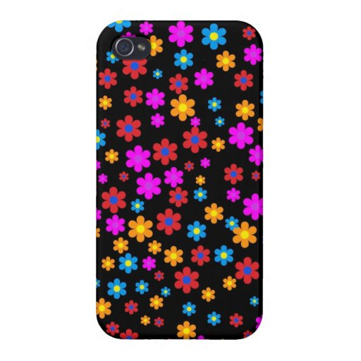 Cool colourful floral flowers pattern background cases for iPhone 4