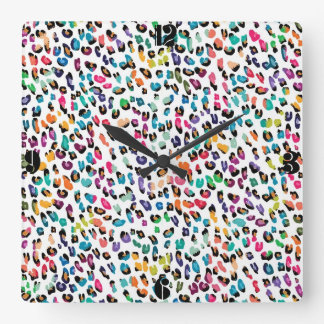 Cool colourful girly trendy Leopard animal print Square Wall Clock