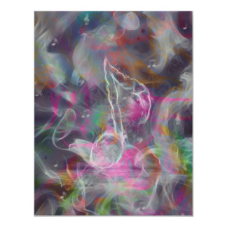 Cool colourful glow smoke effects white music note 11 cm x 14 cm invitation card