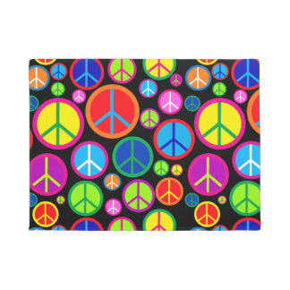 Cool Colourful Groovy Peace Symbols Doormat