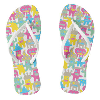 Cool Colourful Monsters Flip Flops