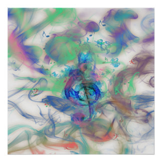 Cool colourful music notes smoke effects image print