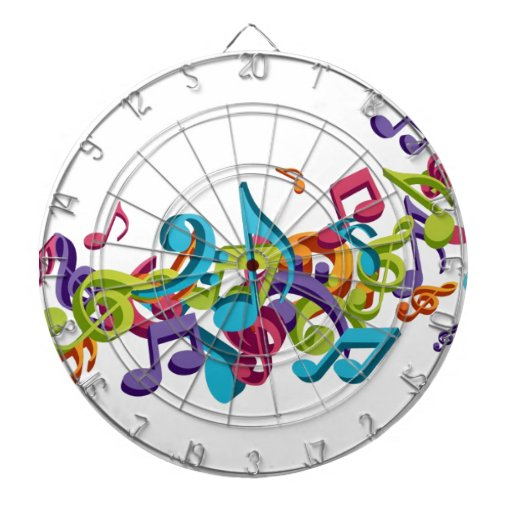 cool colourful music notes & sounds art image dartboards