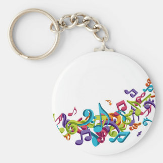 cool colourful music notes & sounds basic round button key ring