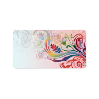 Cool colourful summer colours swirls flowers label