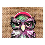 Cool  Colourful Tattoo Wise Owl With Funny Glasses